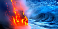 Lava Running Into Waves, In Photos